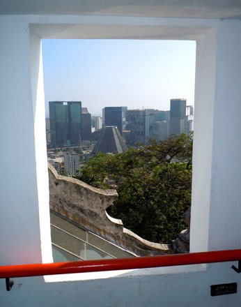 Centro district framed in a window of the Parque das Ruínas