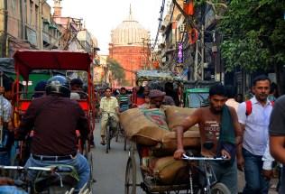 Jama Masjid from the chaos of Chawri Bazaar