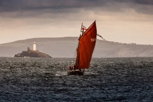 lugger with red sails