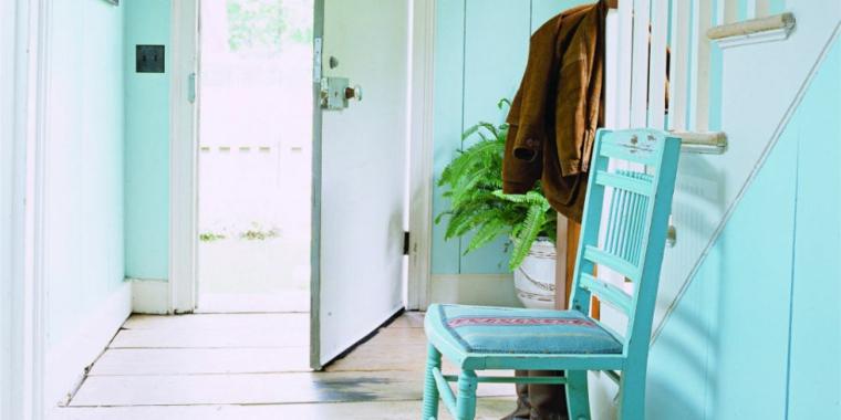 lovely light blue corridor