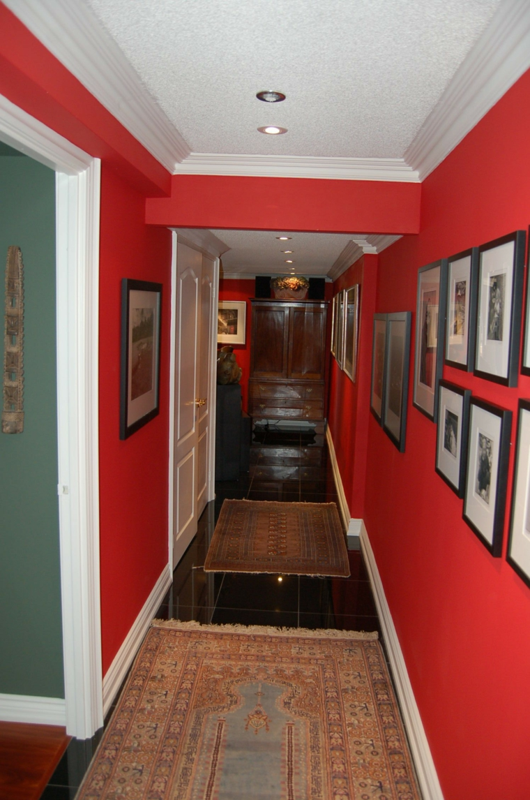 decorate intense red hallway