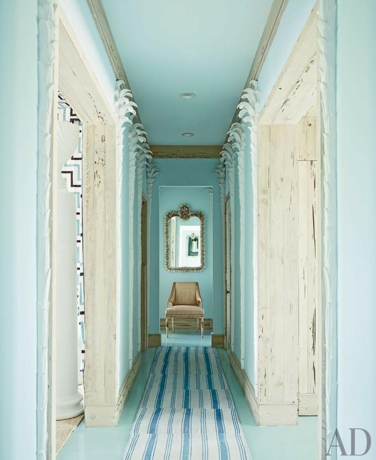 beautiful painting corridor color aquamarine