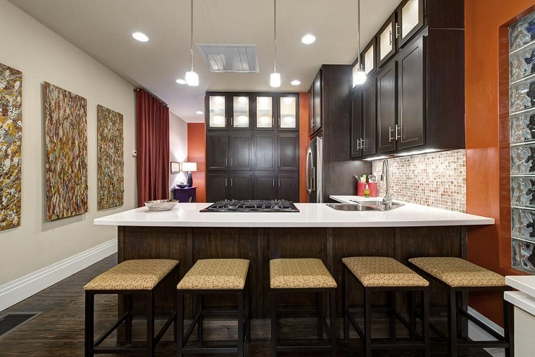 modern kitchen three large pictures equal wall ideas