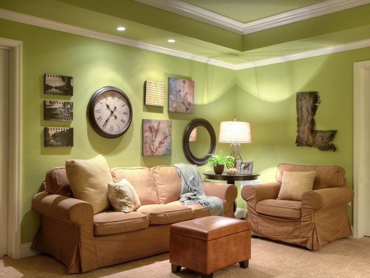living room modern green walls pictures clock decorative ideas