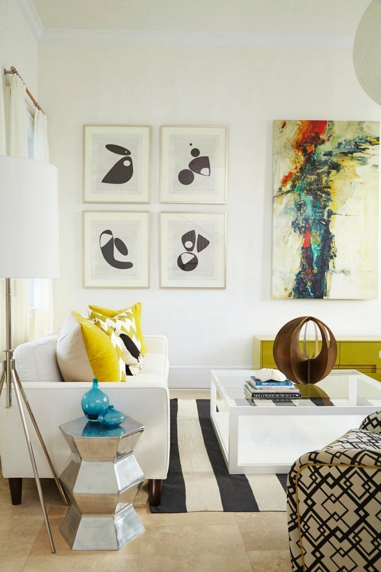modern living room various paintings decorating wall ideas