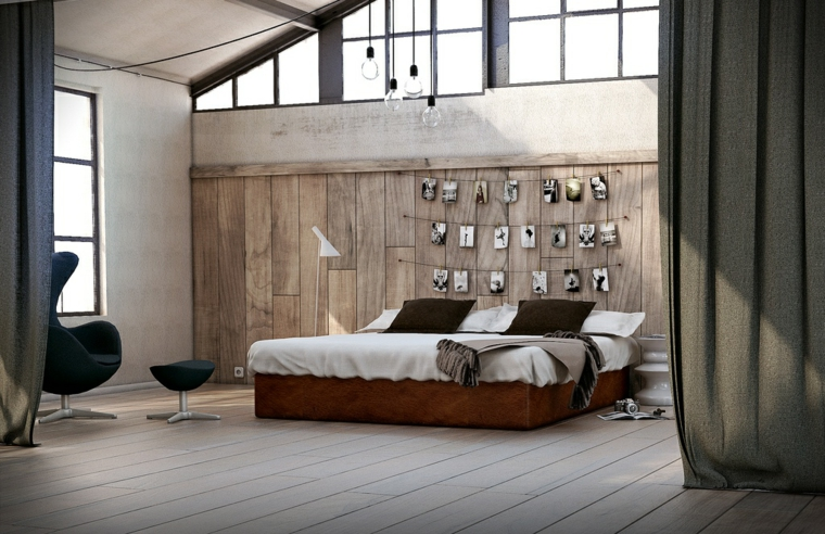 bedroom style modern wood walls