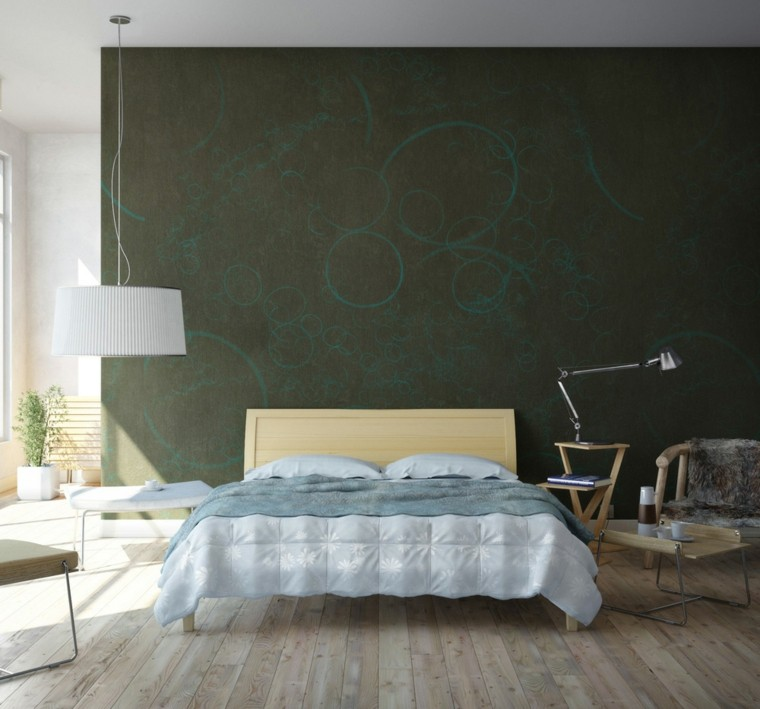 paper wall bedroom green olive