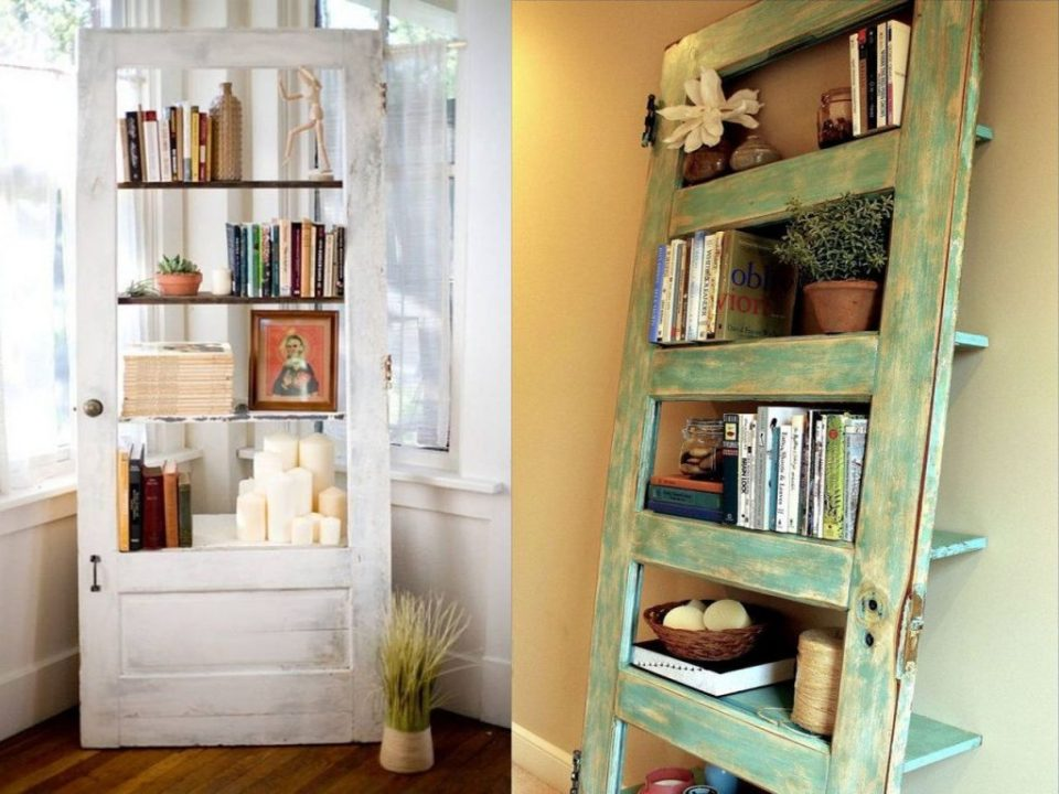 shelves with wooden doors