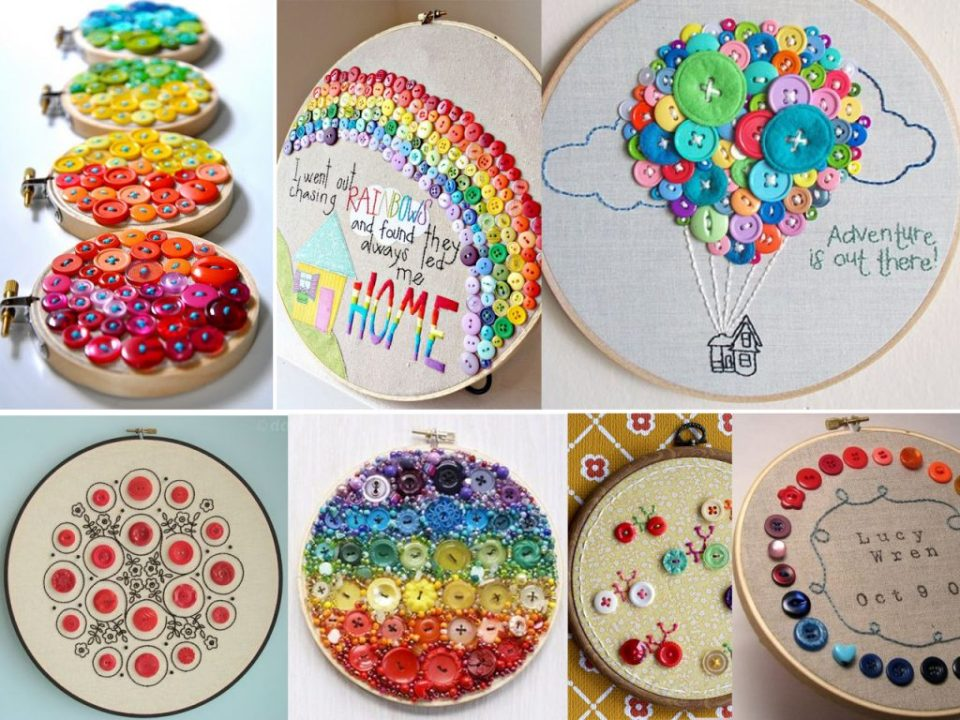 make embroidery with buttons