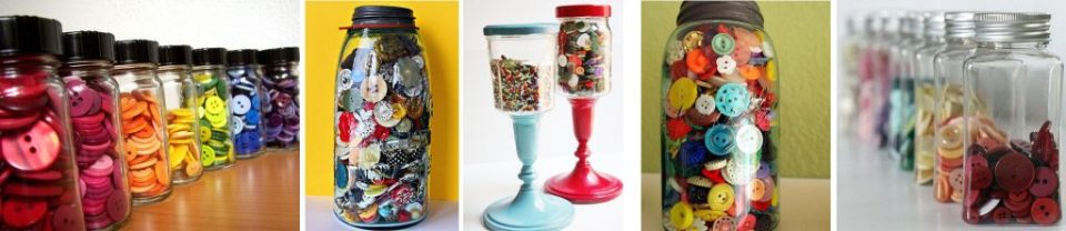 canisters with colored buttons