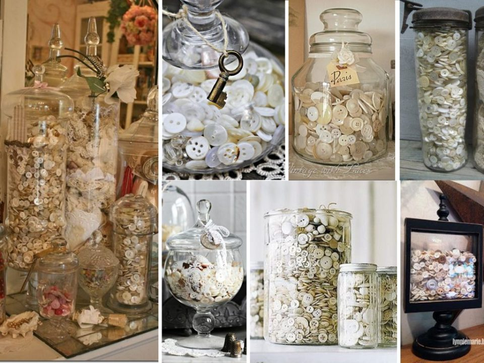 glass jars with buttons