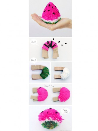 how to make a watermelon with pompoms