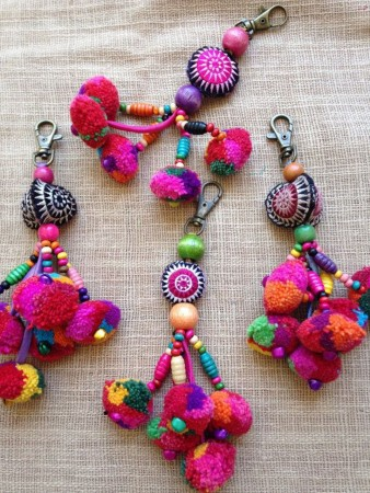 original keychains with pompoms