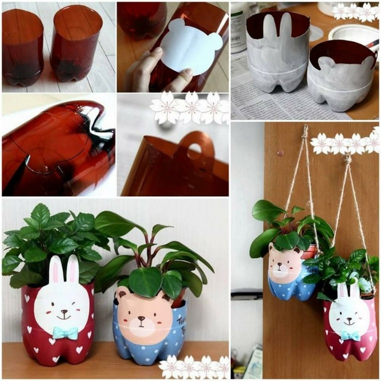 funny animals hanging plastic flower pots