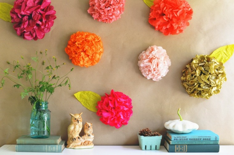 flowers paper stuck colors wall