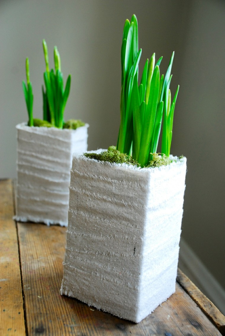flower pots moss white fabric grass