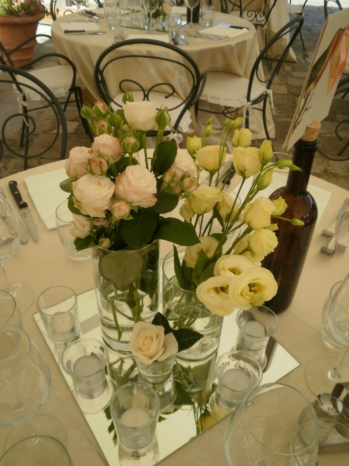 centers table weddings mirror candles roses ideas