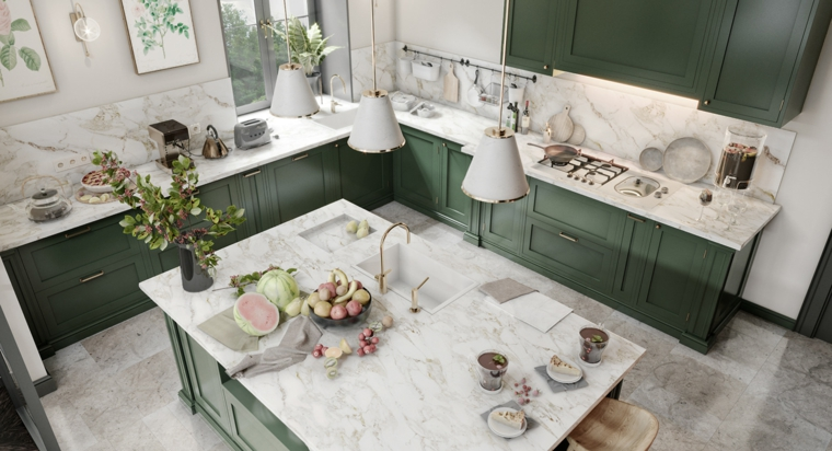 kitchen-wide-furniture-green-marble