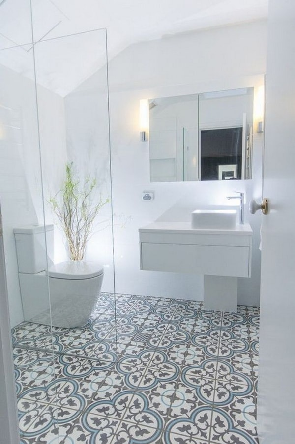A small bathroom with visual continuity