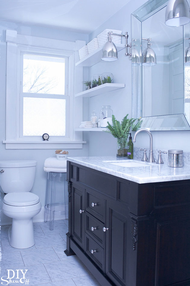 Small modern blue bathroom