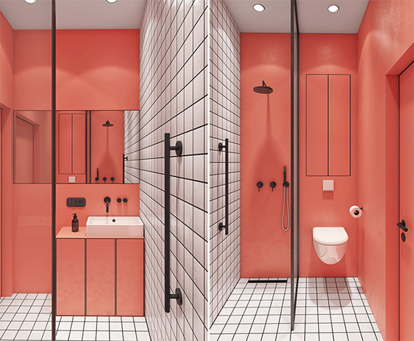 A small, modern bathroom in coral color