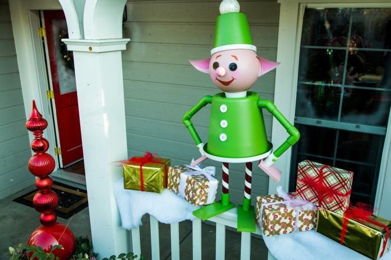 Christmas elves outside