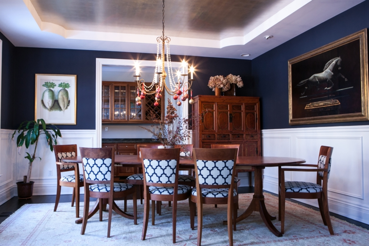 pantone color 2020-blue-walls-dining room