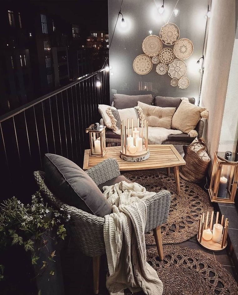 decorate balcony small candles