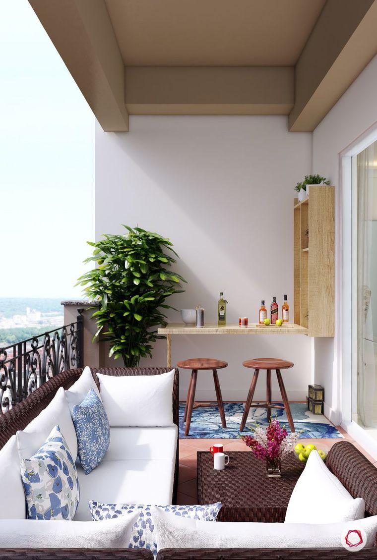 decorate balcony small bar drinks