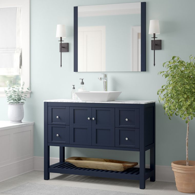 DIY blue bathroom vanity