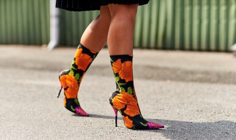 floral design on footwear