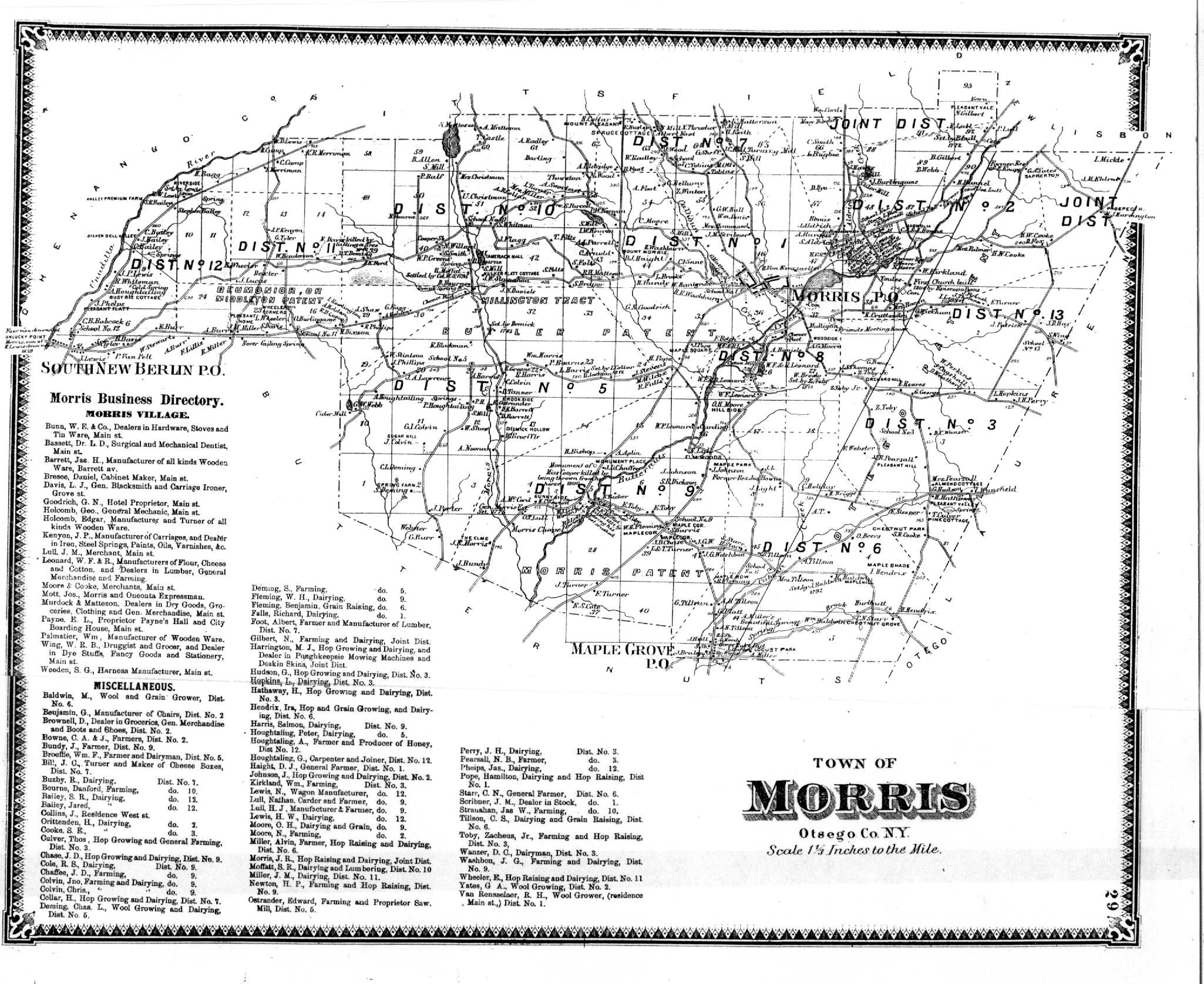 F W Beers Atlas Of Otsego County Ny