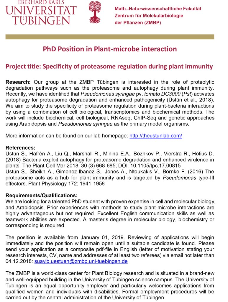 PhD position in plant-microbe interaction available – The
