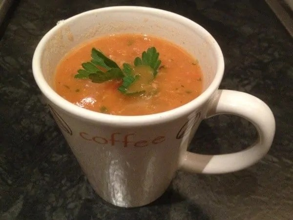 Tomato and Parsley Soup in a mug