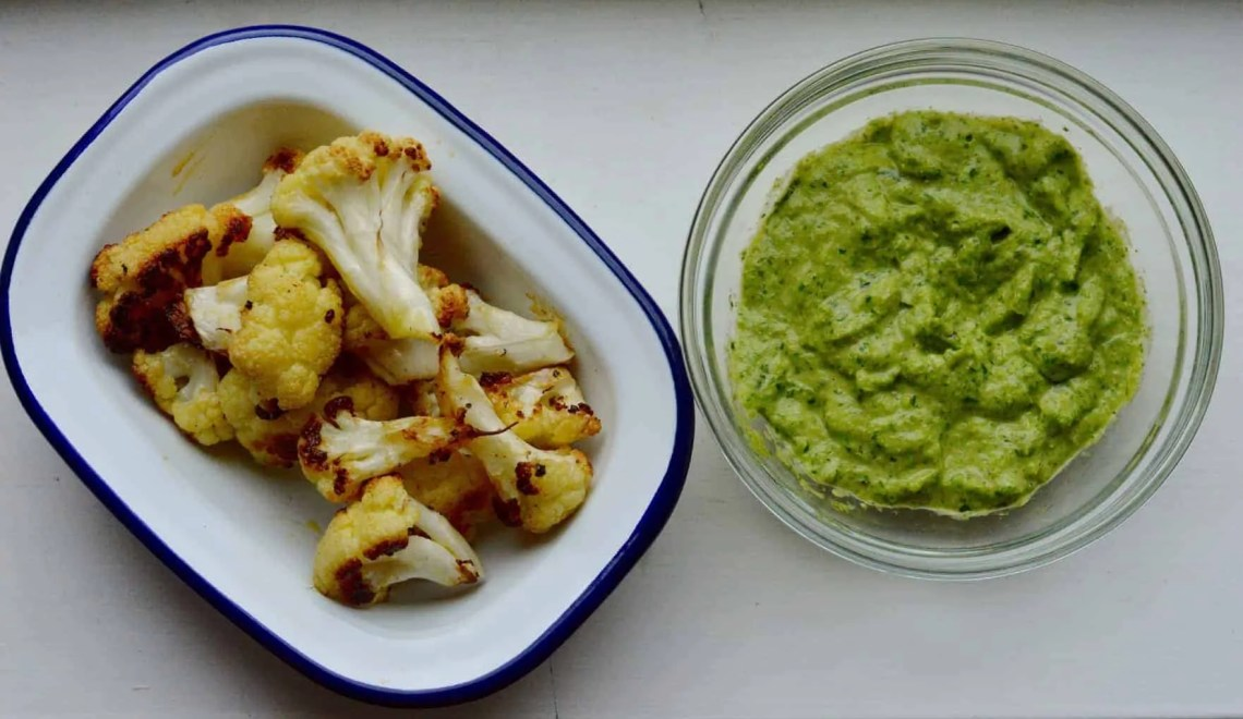 Roasted cauliflower with pesto