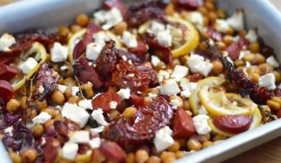 Lemon and feta roasted chickpeas
