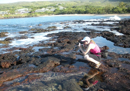 Cool tide pools along the Puʻupehe Trail; that's Four Seasons Manele Bay in the background.