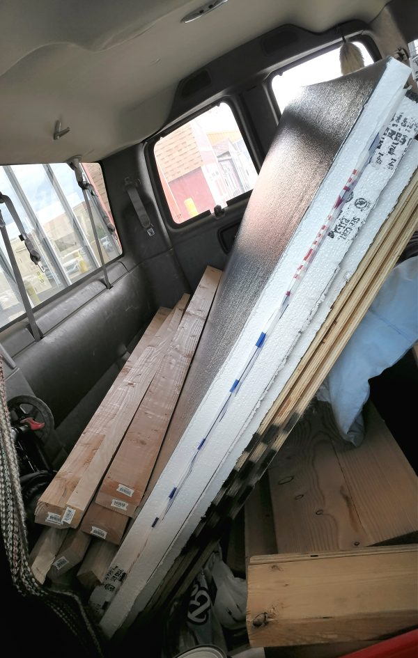 All the stuff that was on the cart, but this time wedged into the back of my van, at a jaunty angle. But hey, the back doors are actually closed!