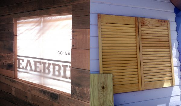 On the left side, the window from inside, with housewrap covering it. To the right, the window from outside, with a pair of shutters bolted down over it.