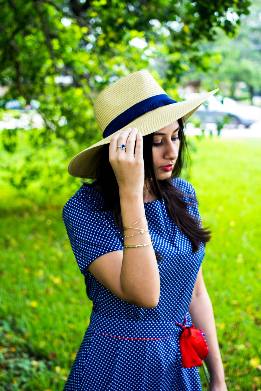 Romwe Polka Dot Dress, Mango straw hat - The Vagabond Wayfarer