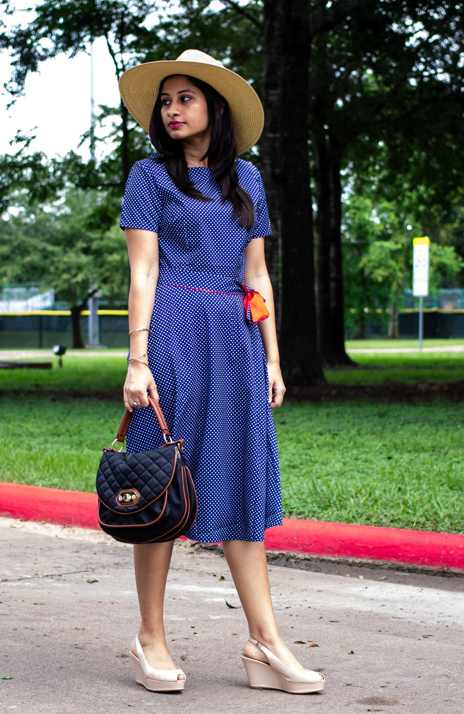 Romwe Polka Dot Dress, Mango hat, Steve Madden bag, Zara wedges - The Vagabond Wayfarer