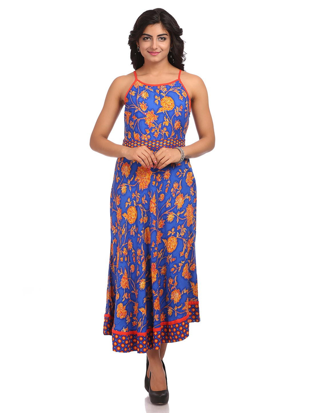 BIBA Blue Flared Viscose Dress
