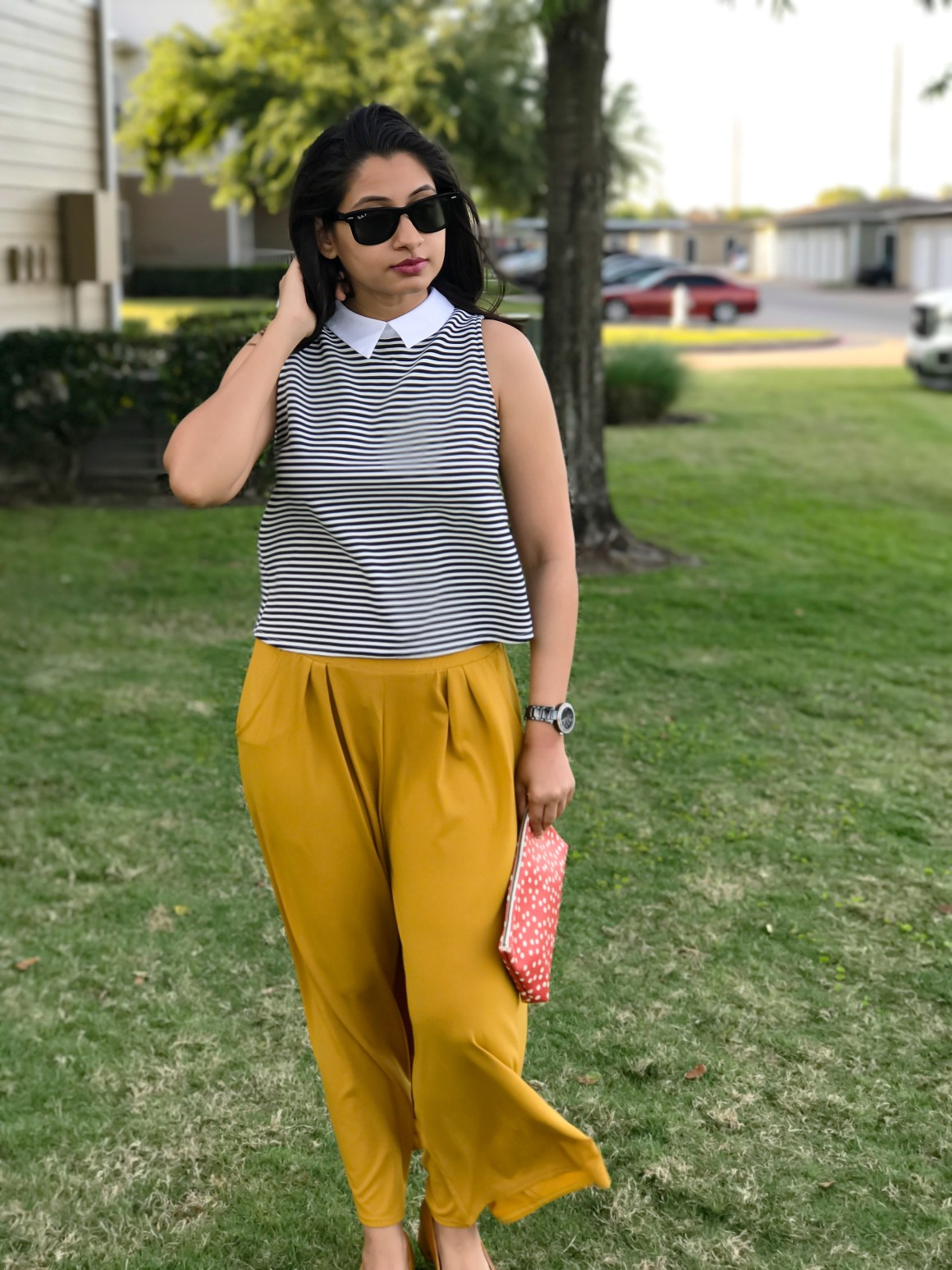 Striped top - Zara, Yellow pants - Zaful
