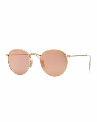 Ray-Ban Round Metal Frame Sunglasses with pink lense