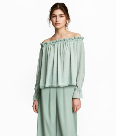 H&M Dusky Green Off-shoulder blouse