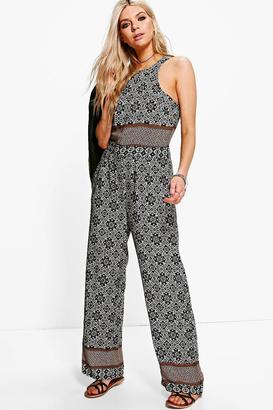 BooHoo Printed Wide Leg Jumpsuit