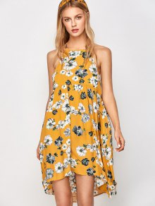 Zaful Mini Smock Sleeveless Floral Swing Dress