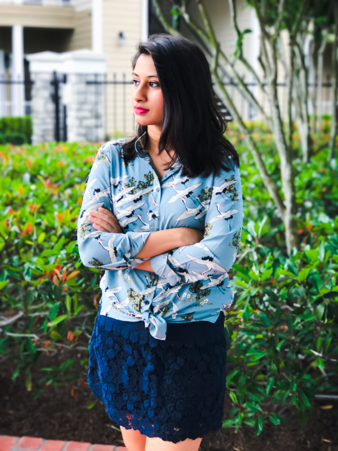 Romwe Blue Crane print shirt, Navy crochet skirt, Hunter Boots
