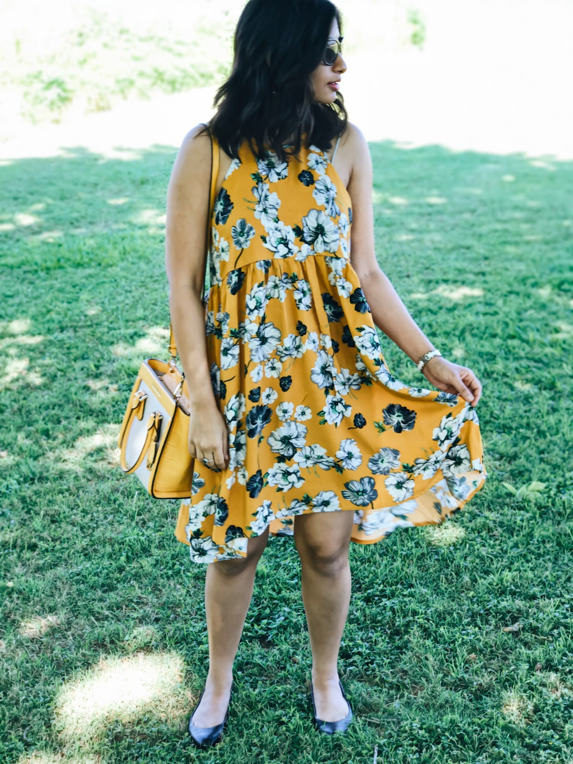 Yellow Floral Swing Dress - Zaful, Michael Kors Yellow Satchel, Dr. Scholls memory foam flats
