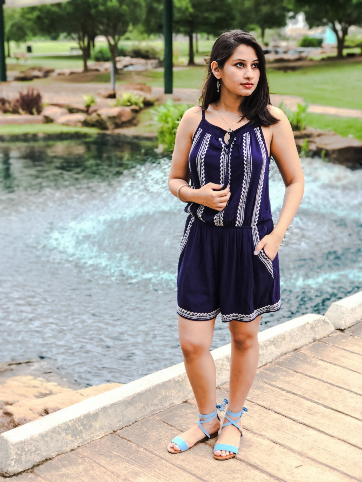 Navy Embroidered Romper - Frey Boutique